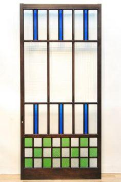 極上!!大正浪漫!市松模様が輝く煌びやかな色ガラス戸 F4702 在庫1枚