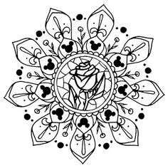 Disney fan art mandalas by me! Been hiding them for too long. This is the only one I digitally altered to get the rose centered. I was too lazy to redraw it that day. Disney Coloring Pages, Colouring Pages, Coloring Books, Adult Coloring, Disney Decals, Disney Fan Art, Disney Fonts, Disney Diy, Disney Crafts