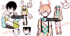 edit 2: I .... had a wrong file ... edit: fixed the ears mldfg The dots in socks and cardigan are unnecessary. Just my shading wwww ☆The cat chain he carries around is a ref of bakamilk...