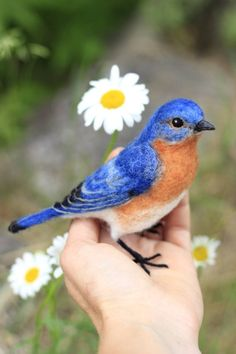 Items similar to Made to order, Needle Felted Male Eastern Bluebird, life size felted bird, month turnaround time on Etsy