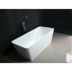 Kingston Brass Contemporary 59-inch Solid Surface Matte Stone Freestanding Rectangular Bathtub (White), Size Under 60 inches