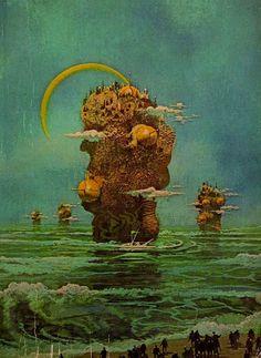 Art by Paul Lehr, 1969 for Grimm's World, author Vernor Vinge Fantasy Landscape, Fantasy Art, Vaporwave, Art Science Fiction, Science Fair, Science Jokes, Easy Science, Preschool Science, Elementary Science