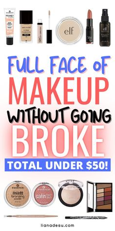 The best drugstore makeup starter kit under $50 total! These drugstore makeup products are perfect to start your makeup journey on a budget. Great for beginners! #drugstore #makeup #beginners #budget Best Drugstore Makeup, Drugstore Makeup Dupes, Makeup Swatches, Best Makeup Products, Beauty Products, Beauty Dupes, Beauty Hacks, Highlighter Makeup, Beauty Makeup