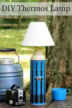 Super easy DIY tutorial for turning a thermos into a lamp. The same process can be used to turn just about ANYTHING into a lamp. The possibilities are endless! Diy Upcycling, Upcycle, Reuse, Haus Am See, Make A Lamp, Farmhouse Lighting, Yard Sale, Lamp Design, Chair Design