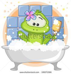 Cute cartoon Frog in the bathroom - stock vector