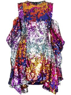 Heart Art Sequined Dress  Funky Neon Sequin Dress  Big Bright Hearts Beaded Sequined Party Dress  Retro Sequin Embellished Dress
