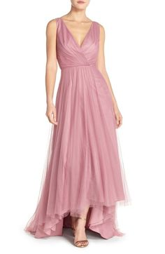 Monique Lhuillier Bridesmaids Pleat Tulle V-Neck High/Low Gown available at #Nordstrom