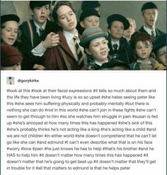 This short scene shows that all need Narnia. They needed Narnia as much as Narnia needed them. Peter Pevensie, Lucy Pevensie, Edmund Pevensie, Narnia Movies, Narnia 3, Dreamworks, Plus Tv, Chronicles Of Narnia, Book Fandoms