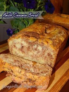 Amish Cinnamon Bread    Super easy sweet bread. This no kneading, just mix it up and bake it bread. wonderful dessert or  quick breakfast.   2 loaves 1 cp butter, softened  2 cps sugar  2 eggs 2 cps butter milk  4 cps flour  2 tsp baking soda Cinnamon sugar mixture:  2/3 cps sugar   2 tsp cinnamon   Grease two 9x5 loaf pans.