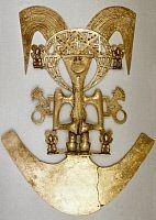COLOMBIAN ART:   Gold pectoral. Popayan, Columbia.
