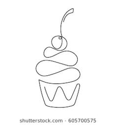 Cupcake with decoration and cherry continuous line drawing element isolated on white background for logo or decorative element. Vector illustration of sweet dessert form in trendy outline style. Outline Art, Outline Drawings, Art Drawings Sketches, Easy Drawings, Cupcake Drawing, Cupcake Art, Cupcake Outline, Single Line Drawing, Continuous Line Drawing