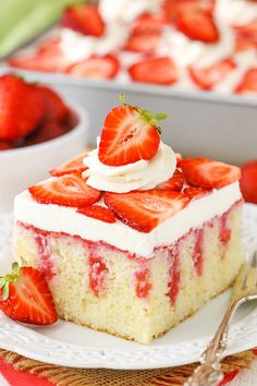This easy strawberry and vanilla cake recipe is out of this world! Homemade vanilla cake covered with sweetened condensed milk, fresh strawberry sauce & cream cheese whipped cream! Strawberry Vanilla Cake, Strawberry Poke Cakes, Strawberry Cake Recipes, Poke Cake Recipes, Cake Recipes From Scratch, Strawberry Sauce, Milk Recipes, Homemade Vanilla Cake, Moist Vanilla Cake