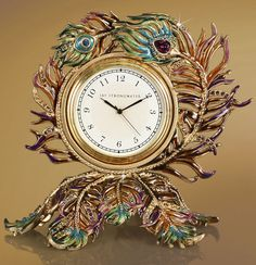 Jay Strongwater Maxim Peacock Feather Clock SDH6055408
