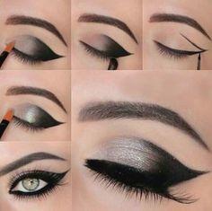 Gray Black Smoky Eye Makeup for Green Eyes #Eyemakeup #EyeMakeupTutorial #FashionCity