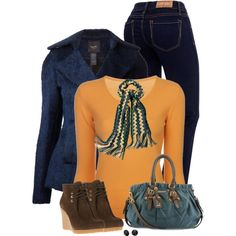 Blues and oranges, created by mommygerloff on Polyvore
