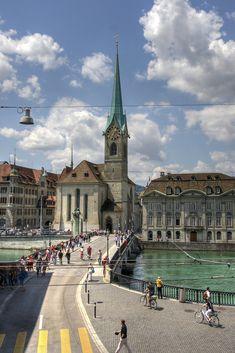 The Fraumünster Abbey and the Münster Bridge in Zürich, Canton of Zürich_ Switzerland