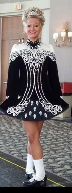 Rising Star Irish Dance Solo Dress Costume 2014. Love black and white dresses...reminds me of my old Culkin dress.
