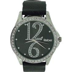 Rebel Ladies Analogue Black Dial Diamante Bezel & Black PU Strap Watch REB2021