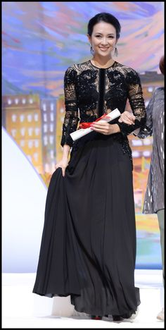 f57071dcc1b Zhang Ziyi wears ELIE SAAB Ready-to-Wear Fall Winter to the Closing  Ceremony of The Annual Cannes Film Festival.