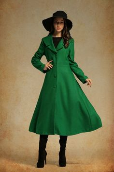 MYK111 Vintage Wool Coat Dress Custom Made Long Sleeves Pleated A ...