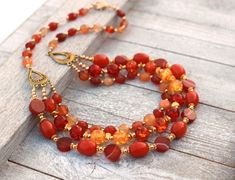 Wife orange necklace, statement necklace, gift for wife, stocking stuffer, Christmas gift by JewelryByLoriStave on Etsy
