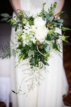 ferns green wedding bouquet / http://www.himisspuff.com/greenery-wedding-color-ideas/9/