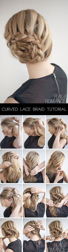 curved lace braid updo hairstyle tutorial. Did this just yesterday. So easy and fast. I just had to make sure to use a lot of pins because of thickness and layers in my hair. Had to readjust in middle of day. But then held for the rest of the day and into next morning. Lots of compliments and questions about how to do it.