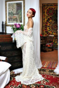 Heirloom Lace Bridal Robe Embroidered French by SarafinaDreams Lace Bridal Robe, Lace Wedding Dress, Bridal Robes, Wedding Dresses, Honeymoon Lingerie, Wedding Lingerie, Beauty Night, Sexy Gown, Lace Nightgown