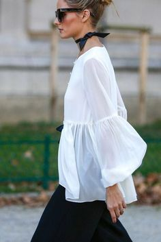 Olivia Palermo wears a white flow top with black pants. Olivia Palermo wears a white flow top with black pants. Olivia Palermo Lookbook, Olivia Palermo Style, Fashion Mode, Look Fashion, Fashion Trends, Romantic Style Fashion, Unique Fashion, Trendy Fashion, Womens Fashion