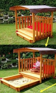 Sand Box And Reading Tent Combo Made From Pallets   - pallets  diy - nice garden idea