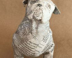"""This sculpture makes a fetching piece of art for any dog lover! Title: """"Fetch!"""" Media: Paper and wire Size: 13.25L x 8.5""""H x 7""""D  > > > > > This is an example only < < < < < This piece is SOLD. I can make another running dog like this one, in the colors and patterns you prefer, or you can leave it up to me.  The free standing hound is made of paper and wire. No paint is used. Magazine paper is used for its durability and to paint this lively and whimsical dog scu..."""