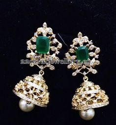 Jewellery Designs: Imitation CZ Pendant with Jhumkas