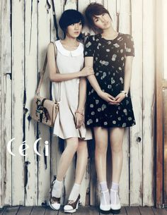 Korean singers Jia and Suzy, from girl group Miss A, for Ceci magazine.    Ceci, April 2012