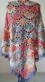 Colorful Shells Patterned Shawl - Crochet Nook