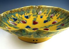 CUSTOM ORDER Hand Thrown Extra Large Multi Functional Yarn Bowl with Hand Carved Hummingbirds