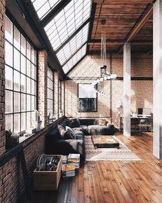 Industrial Interior Design, Industrial Apartment, Industrial House, Industrial Interiors, Apartment Interior, Home Interior Design, Interior Architecture, Loft Apartment Decorating, Apartment Ideas
