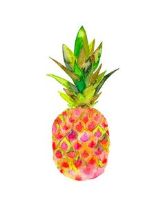 Pink Pineapple Watercolor Print for your office or living room ($24)