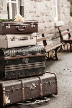 Vintage suitcases, train station