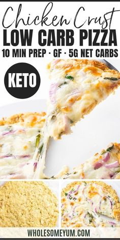 A low carb keto chicken crust pizza recipe with just 4 ingredients! Top it with creamy alfredo sauce, spinach, onions and mozzarella for a delicious and simple low carb dinner. Low Carb Chicken Recipes, Healthy Low Carb Recipes, Low Carb Dinner Recipes, Low Carb Desserts, Ketogenic Recipes, Keto Chicken, Real Food Recipes, Keto Dinner, Keto Recipes