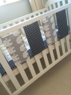 Cot Bar Bumpers and Coverlet in Elephant and by IndiaRoseBaby
