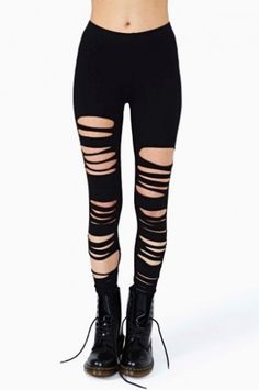 Nasty Gal leggings to tear it up. Take these shredded leggings from Nasty Gal out to a show with some combat boots and fear not – the back is not ripped, so it is still like you're wearing pants. Ripped Leggings, How To Wear Leggings, Tight Leggings, Leggings Are Not Pants, Black Leggings, Mesh Panel Leggings, Soft Grunge, Boyfriend Pants, Hipster