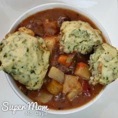 Beef Stew with Dumplings - 20 fluffy inside of dumpling on top of bowl of stew