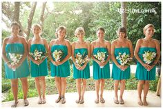 Continuing the beach wedding theme, I'd like to tell you about beach bridesmaids' dresses as we've already told you about beach bridal gowns. Traditionally, beach wedding are more relaxed than other celebrations. Beach Wedding Groomsmen, Beach Bridesmaids, Beach Wedding Guests, Beach Wedding Photos, Beach Weddings, Destination Weddings, Turquoise Bridesmaid Dresses, Beautiful Bridesmaid Dresses, Short Bridesmaid Dresses