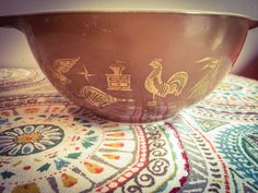 Vintage Retro Pyrex Early American Gold Print on Brown Gold Print, Early American, Pyrex, Retro Vintage, 1960s, Etsy Shop, Shapes, Brown, Tableware