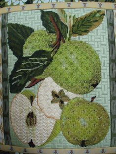 needlepoint apples, designer unknown