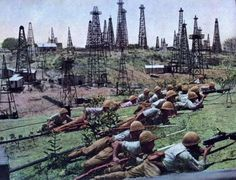 Japanese soldiers in a captured oil field in the Dutch East Indies (1942)
