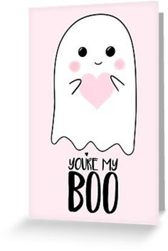 'You're my BOO - Valentines Pun - Anniversary Pun - Birthday Pun - Ghost Pun - Love - adorable - Ghost - Halloween' Greeting Card by Tori's Little Bubble You're my BOO! Perfect Valentine or Anniversary pun for your loved one! Friend Valentine Card, Cute Valentines Day Cards, Valentines Day Puns, Birthday Cards For Boyfriend, Diy Cards For Boyfriend, Anniversary Cards For Boyfriend, Drawings For Boyfriend, Handmade Gifts For Boyfriend, Dibujo
