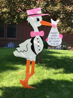 Baby Stork, Stork Baby Showers, Baby Shawer, Welcome Baby Signs, July 15, Birth Announcements, Cut Outs, Wooden Signs, Shower Ideas
