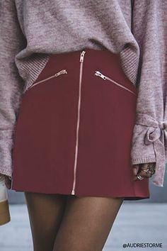 7fadfa81ff7fa Zip-Front Mini Skirt College Fashion, Spring Summer Fashion, Spring  Outfits, Winter
