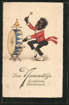 Vintage postcard - and an amazingly offensive one at that.  Very golliwog-esque